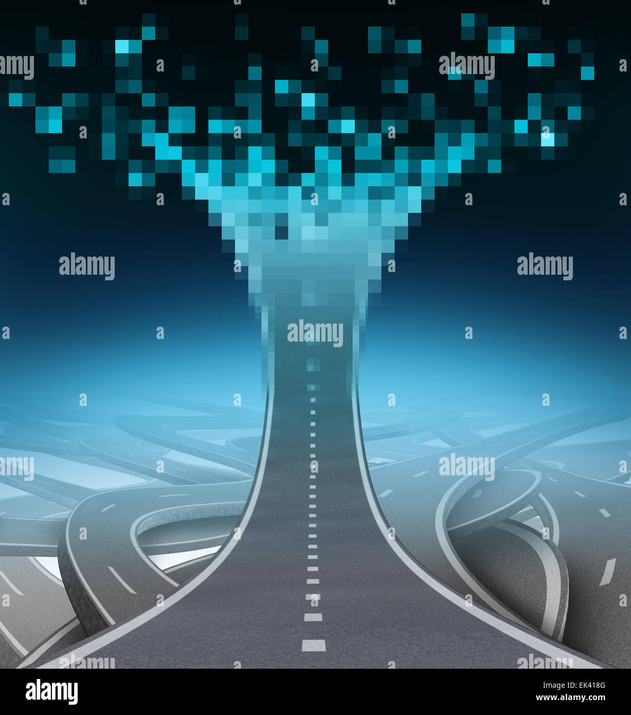 Digital highway and technology communication concept as a road or street going upward and being digitized to computer - Stock Image