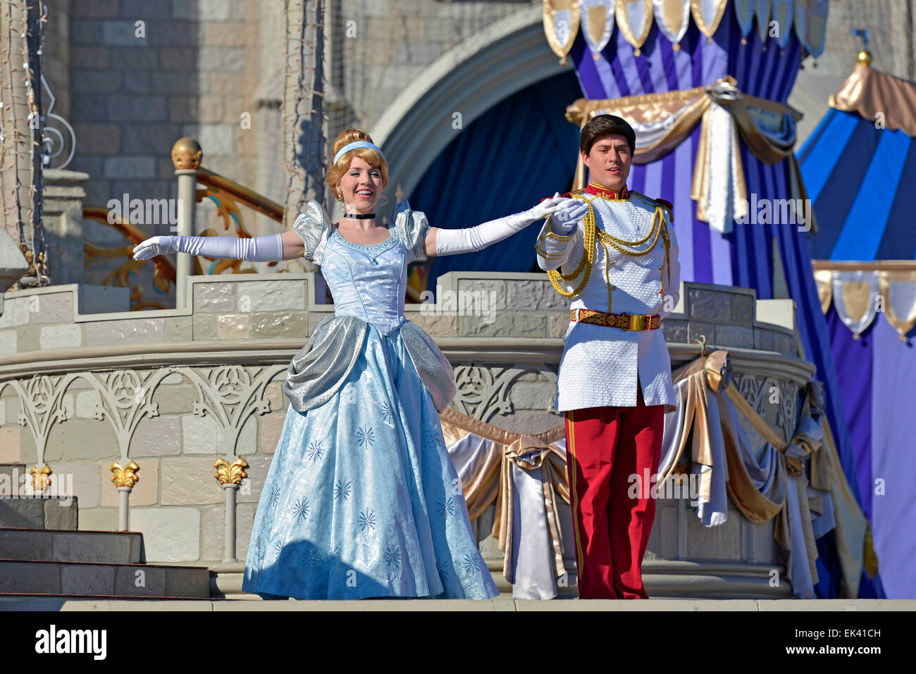 Cinderella, Disney Princess and Prince, Magic Kingdom, Disney World, Orlando Florida Stock Photo