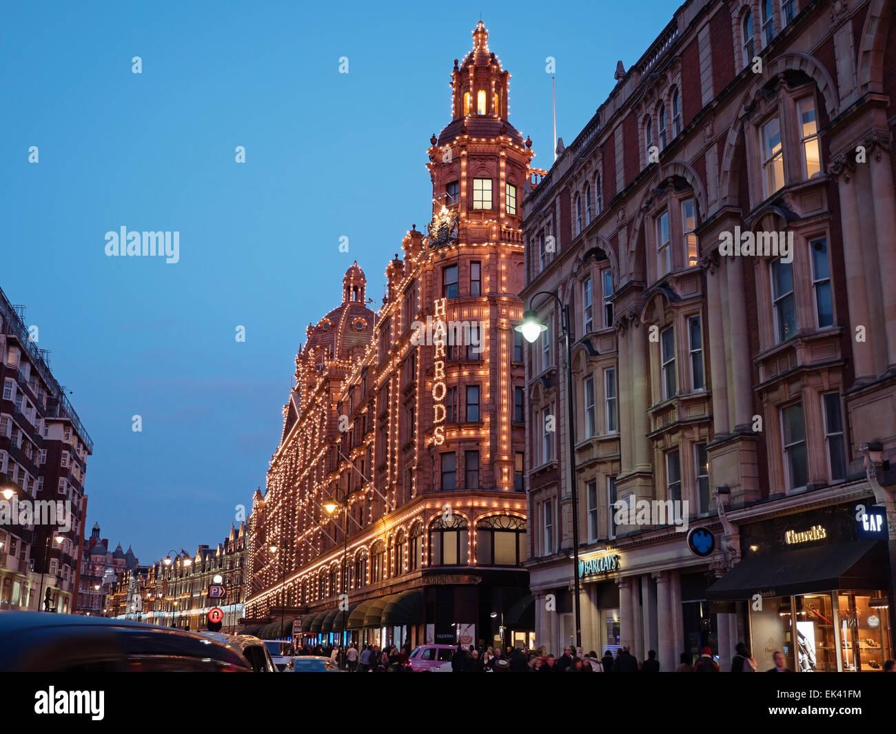 Harrods Department Store at Night, Brompton Road, Knightsbridge, Royal Borough of Kensington and Chelsea, London, Stock Photo