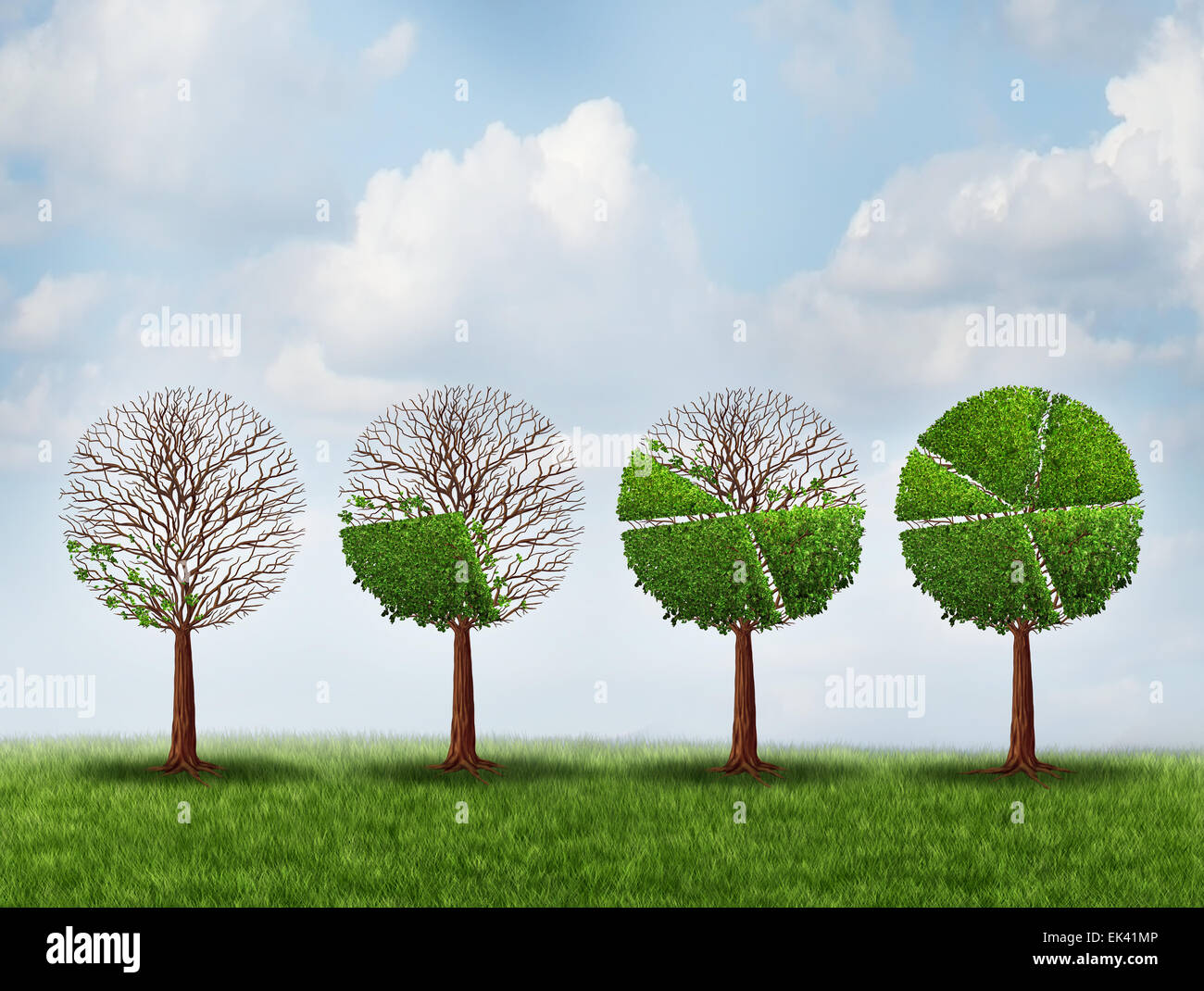 Economic prosperity financial concept as a group of green trees shaped as growing finance pie chart as a metaphor - Stock Image