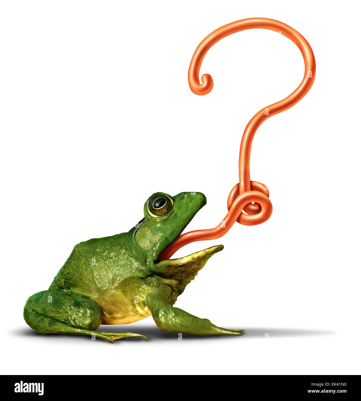 Nature questions as a green frog with its tongue shaped as a question mark as a symbol for ecology and environment - Stock Image
