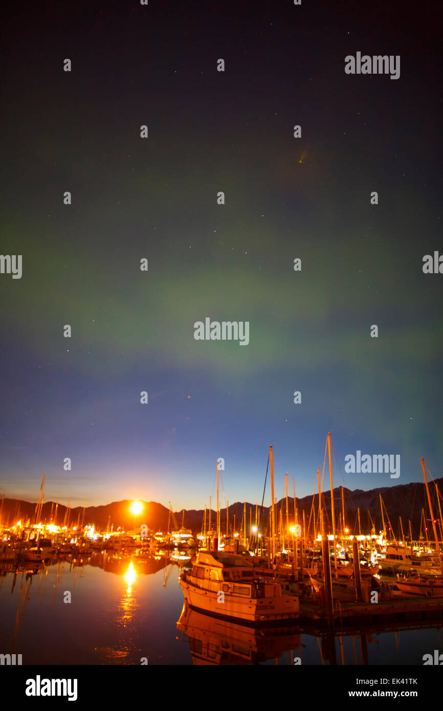 Aurora Borealis over the Seward Boat Harbor, Resurrection Bay, Seward, Alaska. - Stock Image