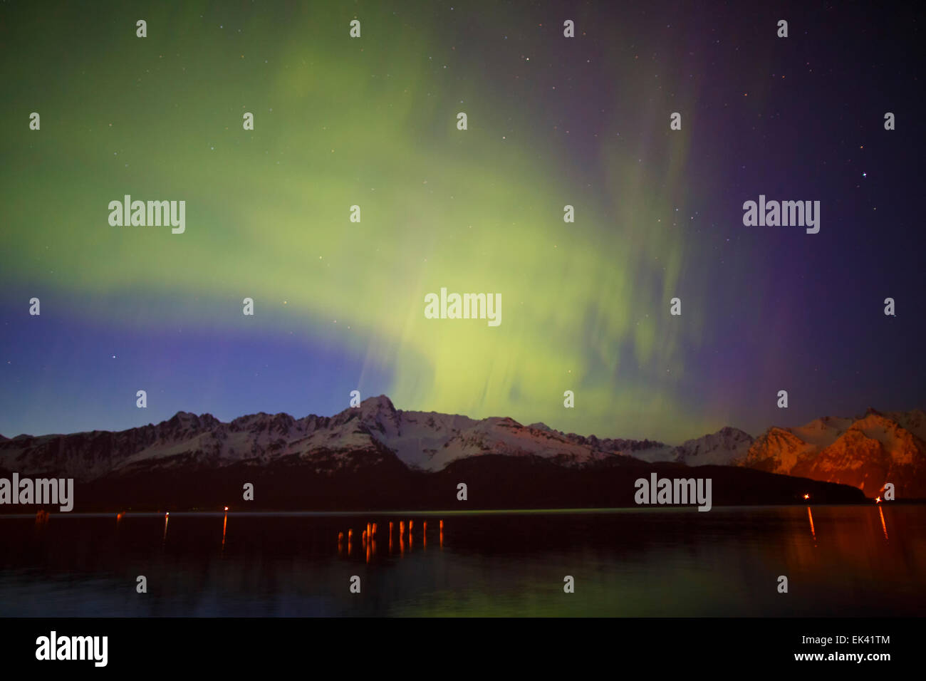 Aurora Borealis over Resurrection Bay, Seward, Alaska. - Stock Image