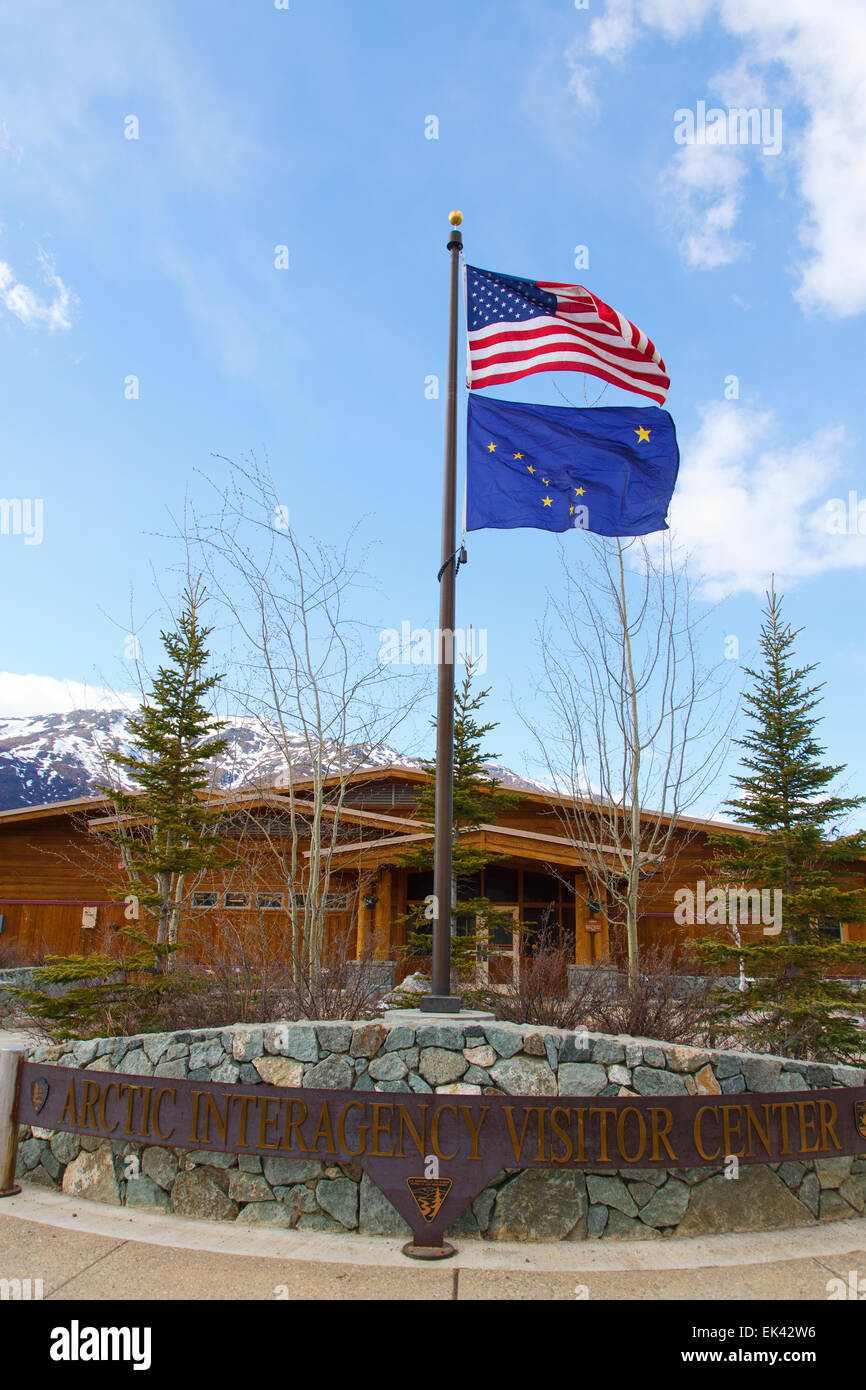 The Arctic Interagency Visitor Center at Coldfoot, Dalton Highway, Alaska. Stock Photo
