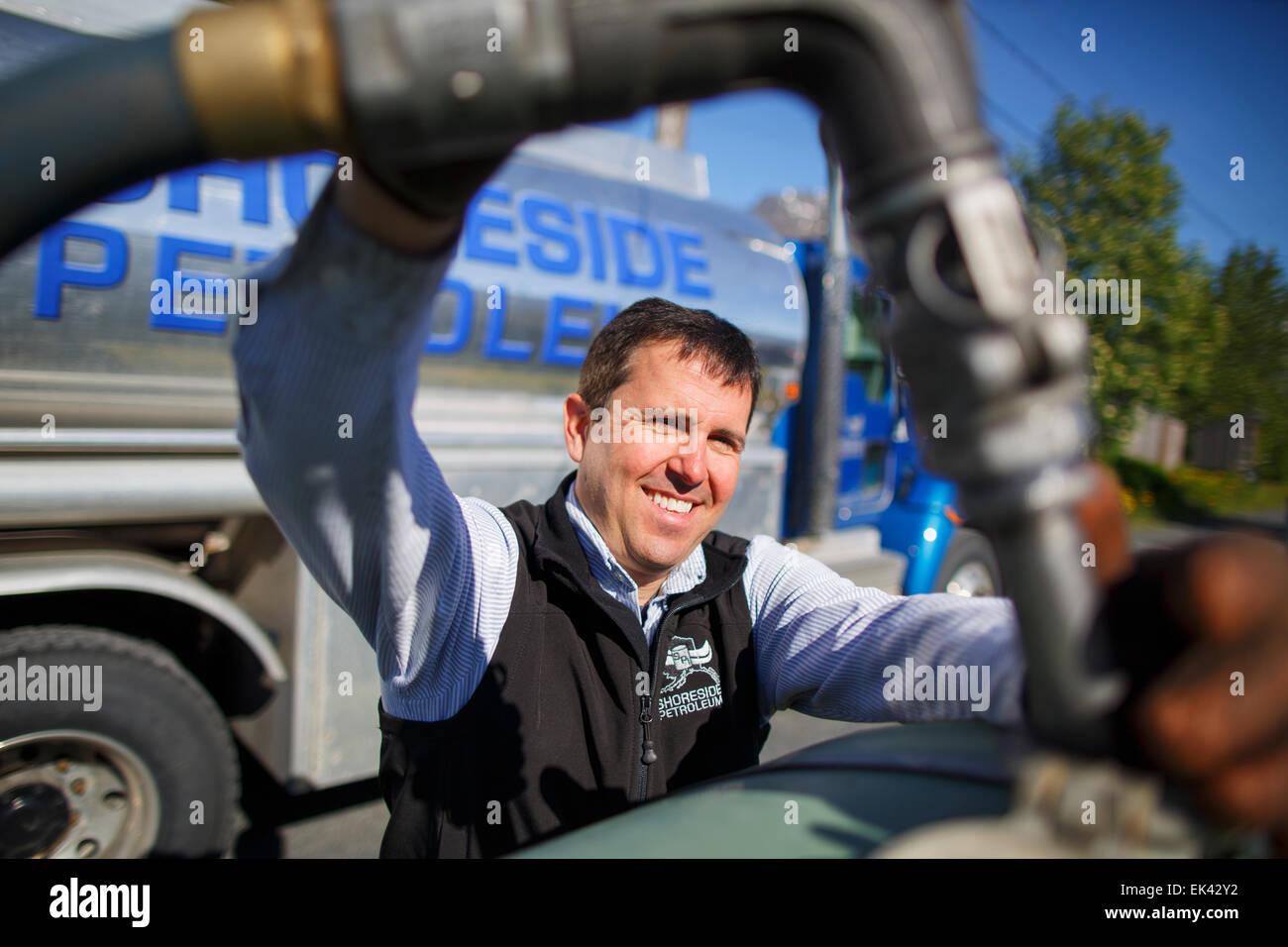 Fuel delivery, Seward, Alaska, - Stock Image
