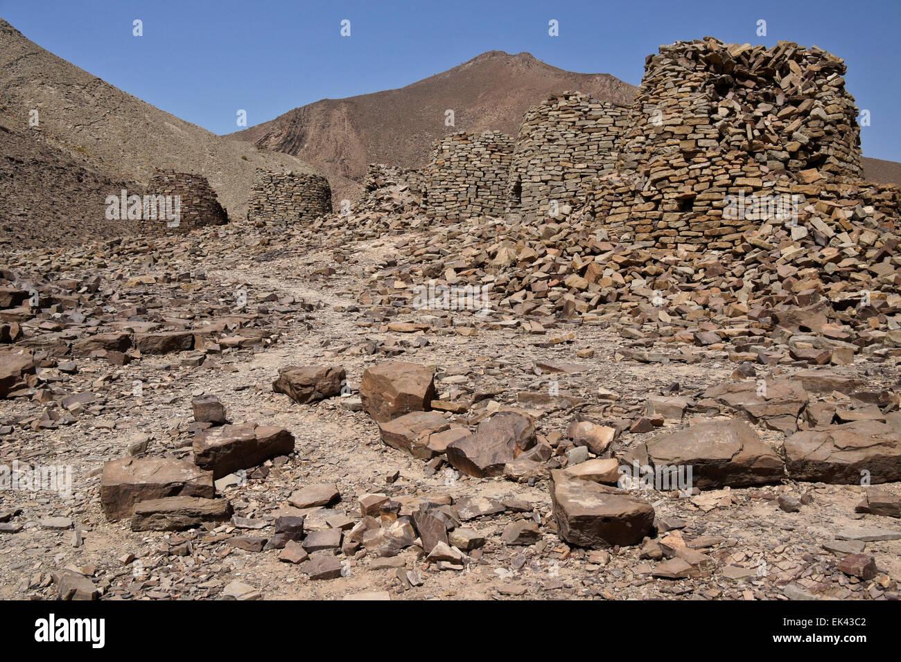 Qubur Juhhal beehive tombs at Al-Ayn, Oman - Stock Image