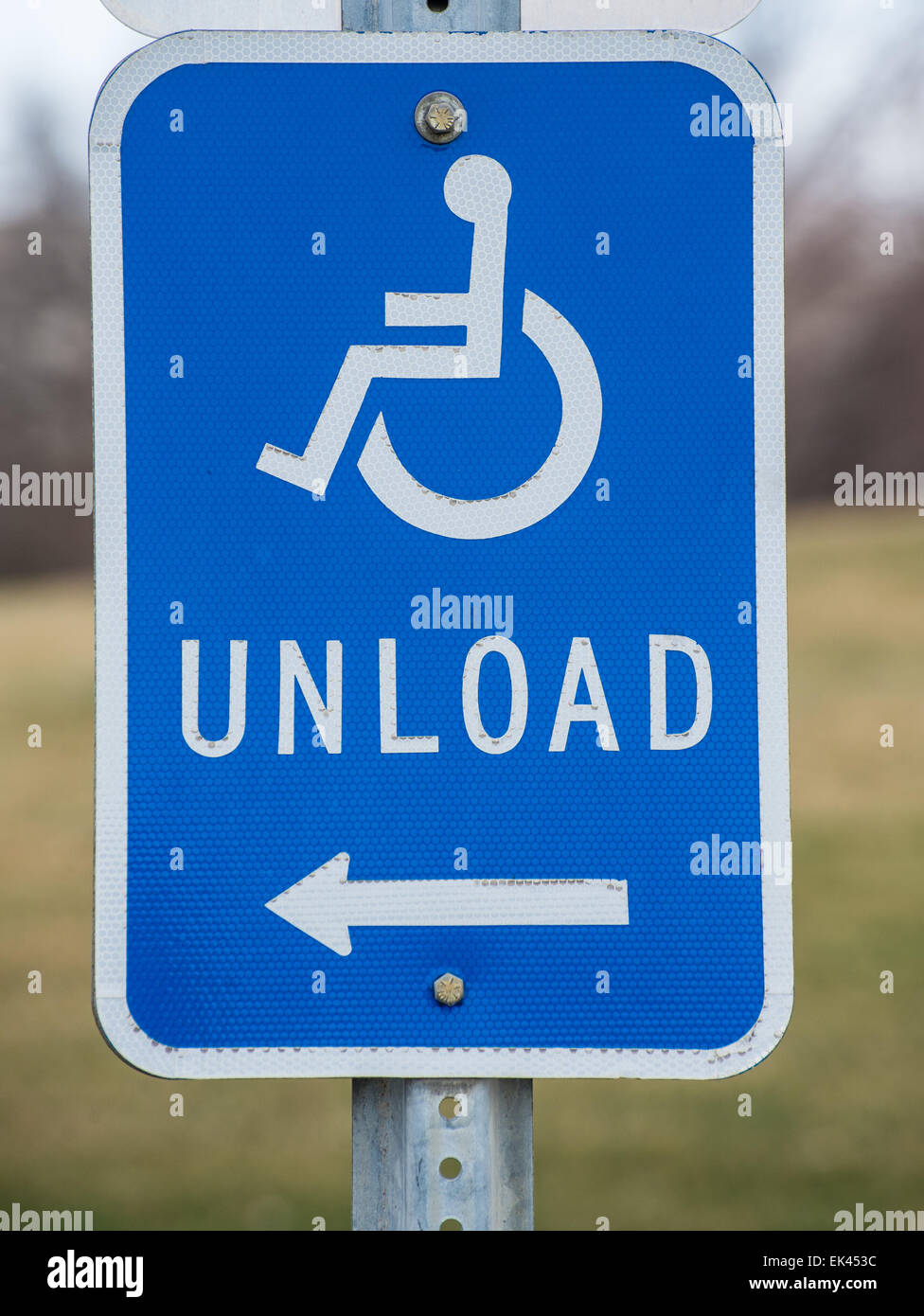 Handicap Unloading Zone near Government Building - Stock Image
