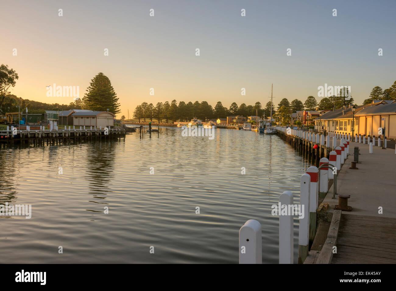 The village of Port Fairy on the Moyne River, Victoria Australia - Stock Image