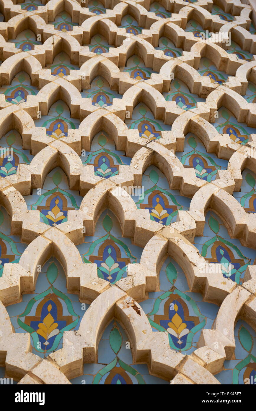 Detail of Hassan II Mosque, Casablanca, Morocco, Africa - Stock Image