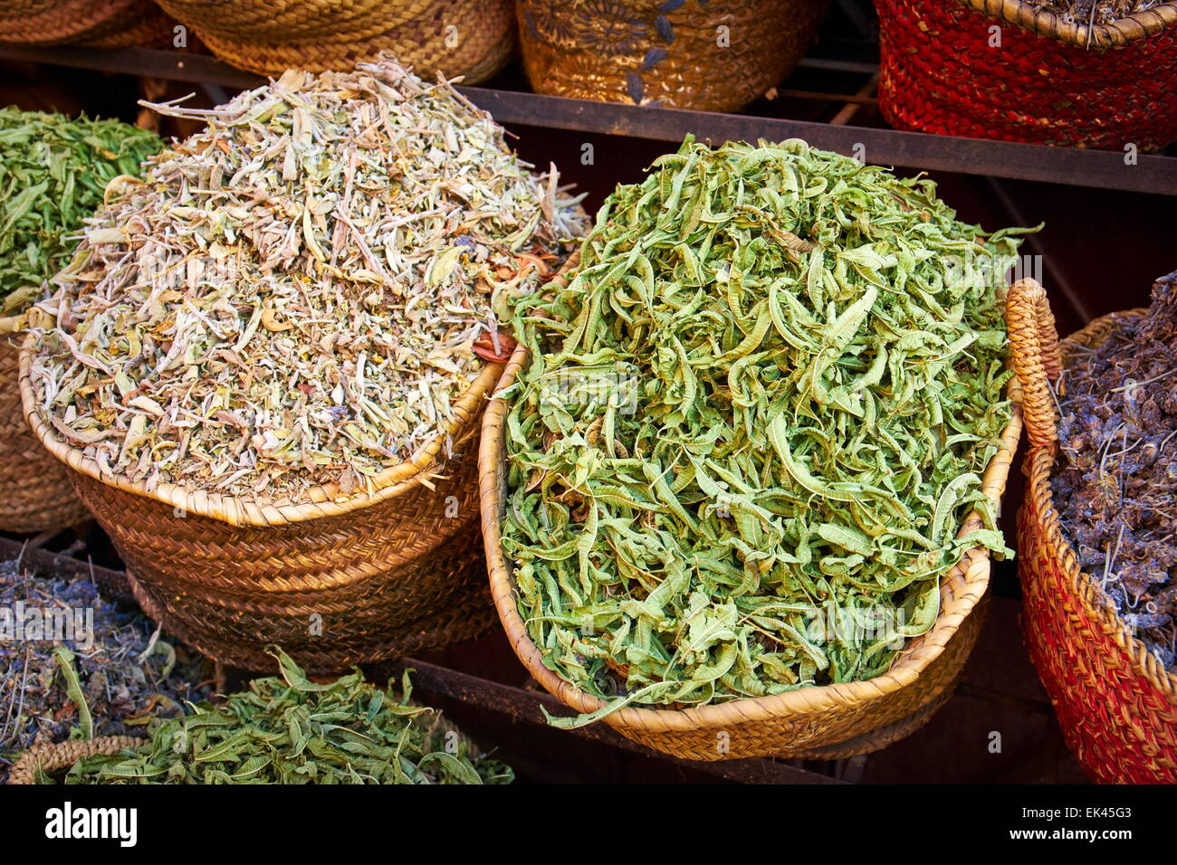 Traditional local herbs and spices, Morocco, Africa Stock Photo