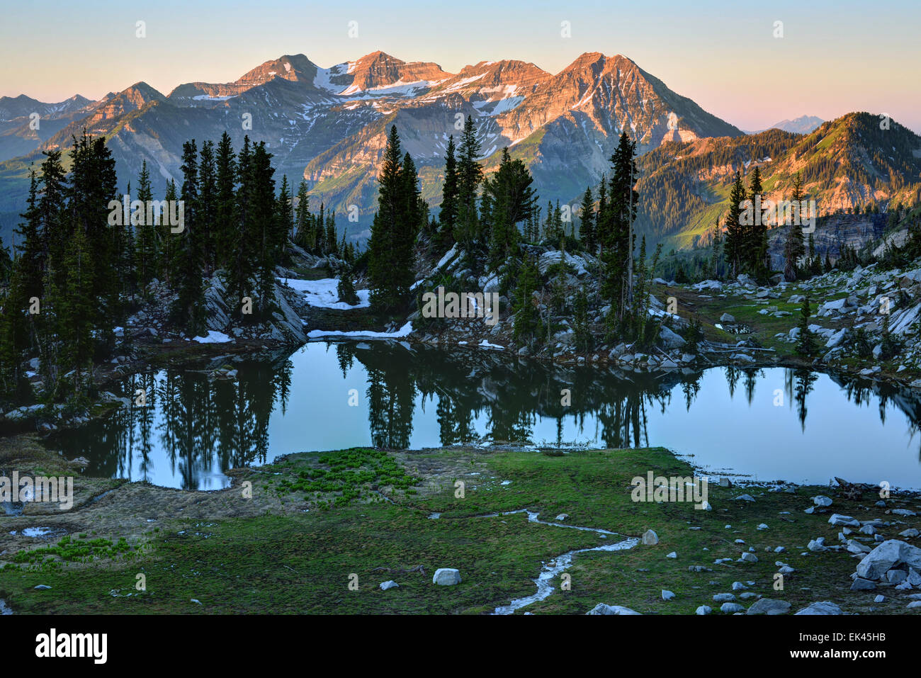 Mt. Timpanogos At Sunrise From Silver Glance Lake - Utah - Stock Image