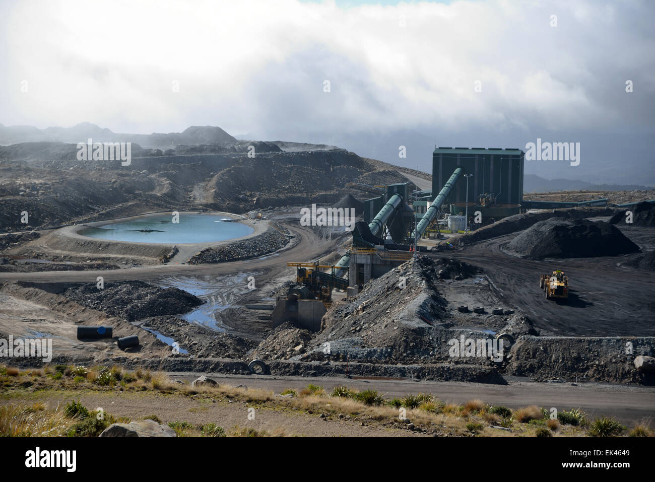 The coal washing and processing plant operates at Stockton Coal Mine near Westport, New Zealand Stock Photo