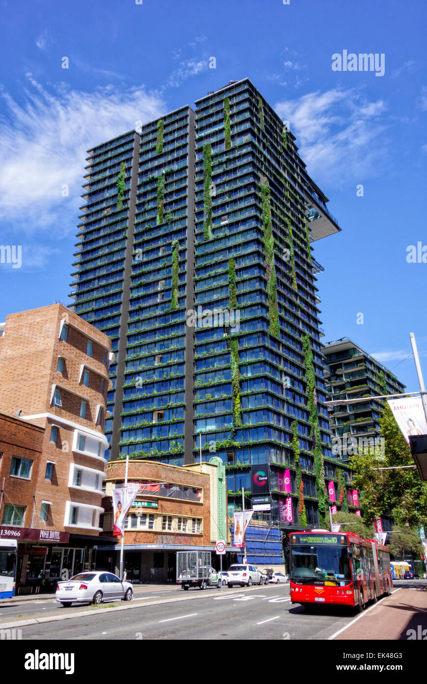 One Central Park, Broadway/Parramatta Road, Chippendale, Sydney. Post-modern skyscraper; tall building; modern; - Stock Image