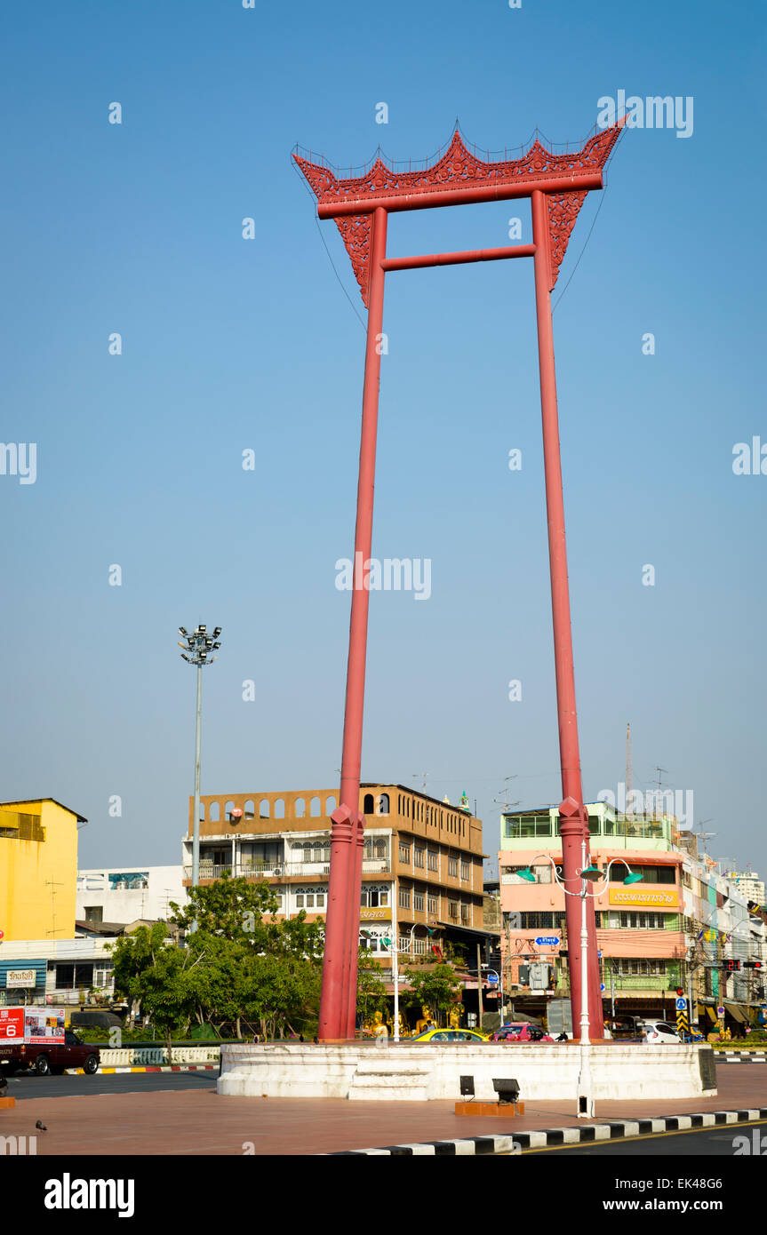 The Giant Swing, also known as Sao Ching Cha, a tourist attraction in the central area of Bangkok, Thailand. Thai - Stock Image