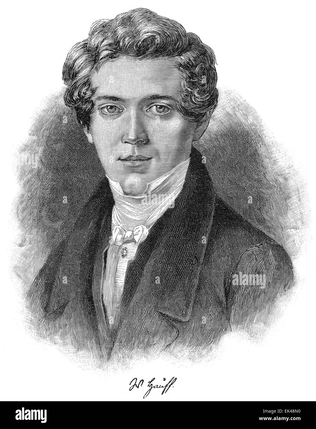 Wilhelm Hauff, 1802 - 1827, a German writer of the Romantic era, Stock Photo
