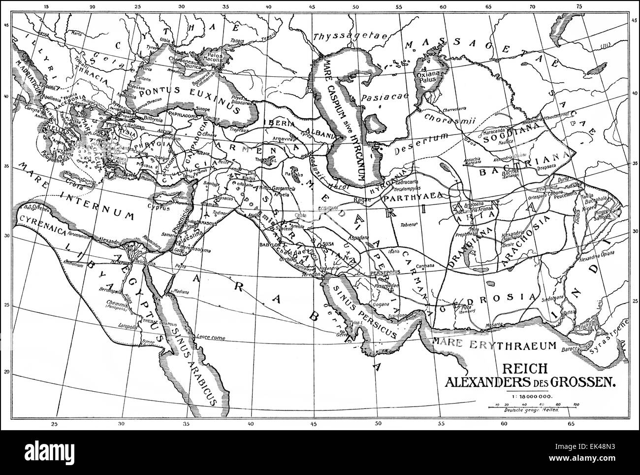 Historical map of the Empire of Alexander the Great or Alexander III of Macedon, 356-323 BC, - Stock Image
