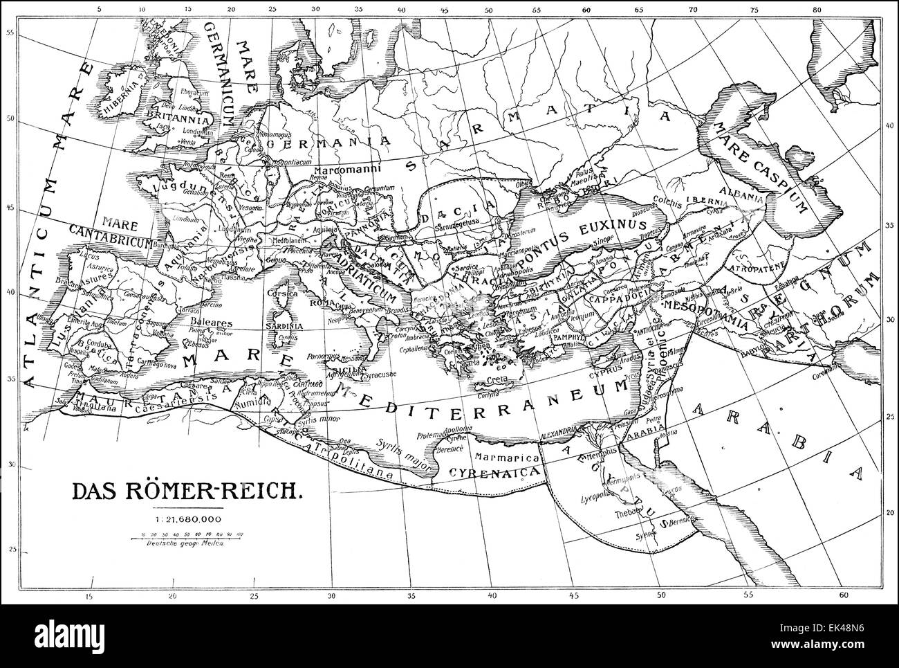 Historical map of the Roman Empire, - Stock Image
