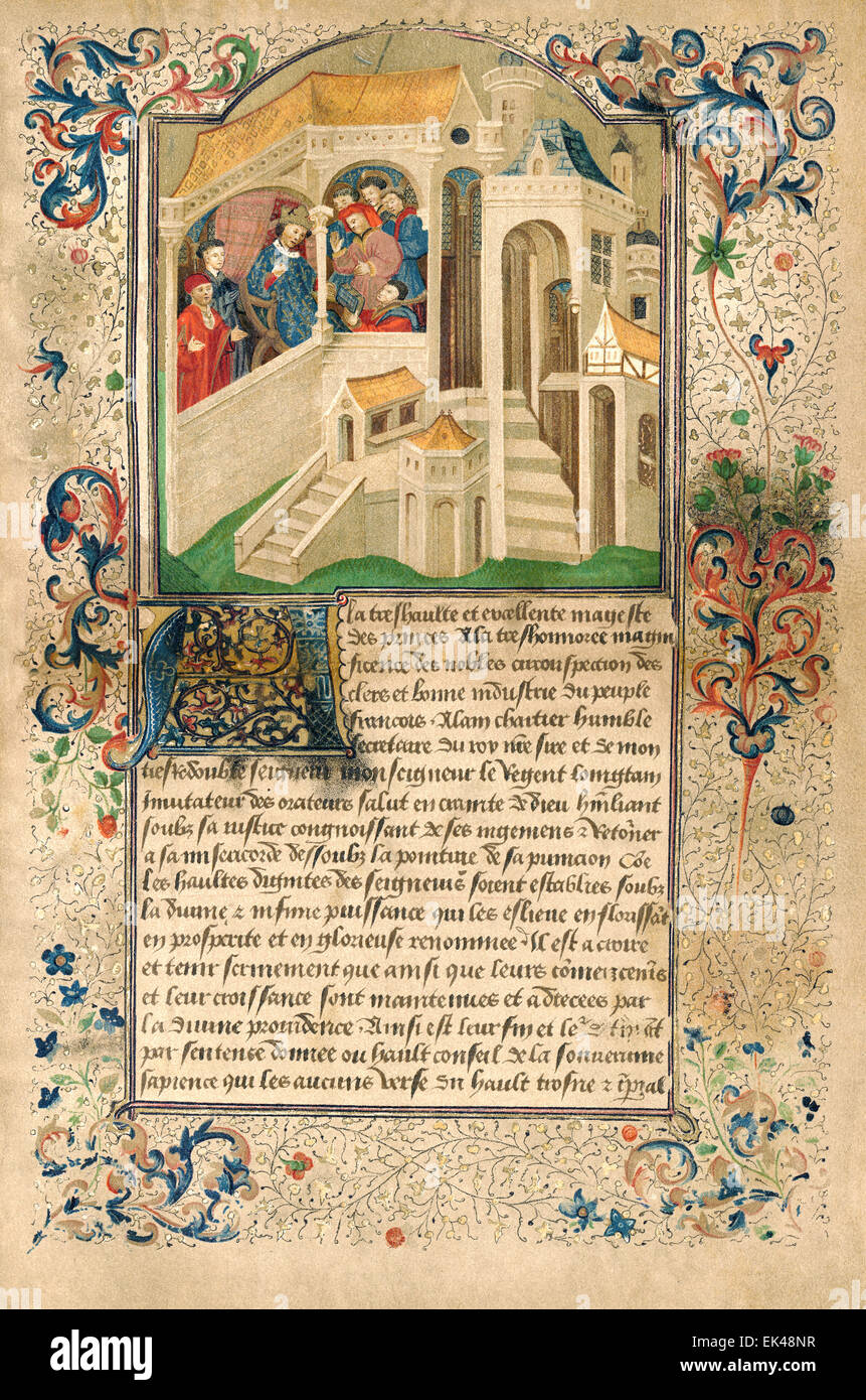 The Quadrilogue invectif, a work of allegorical prose written by Alain Chartier, 1422, - Stock Image