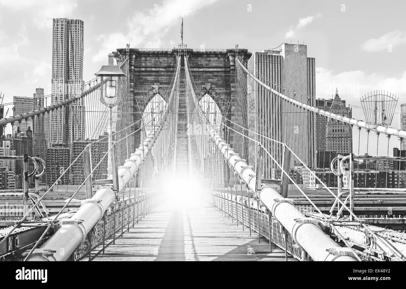 Brooklyn Bridge in New York City, old black and white film style, USA. - Stock Image