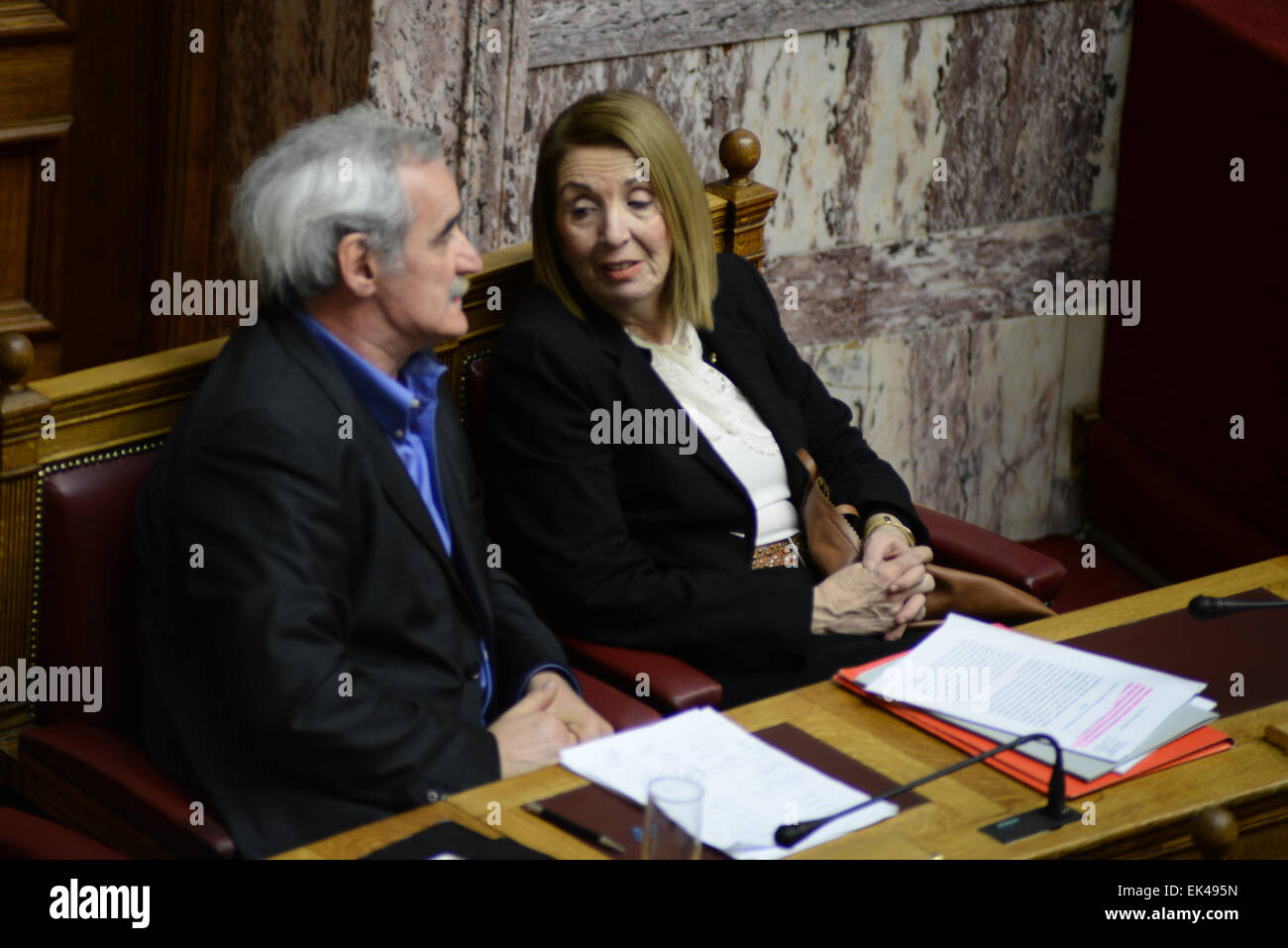 Athens, Greece. 06th Apr, 2015. Hellenic Parliament discussing about the installation of a parliamentary committee - Stock Image