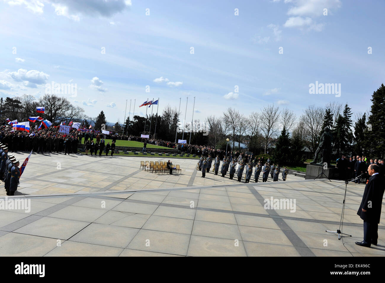 Russian Foreign Minister Sergey Lavrov speaks during a ceremony commemorating a liberation of the Slovak capital - Stock Image