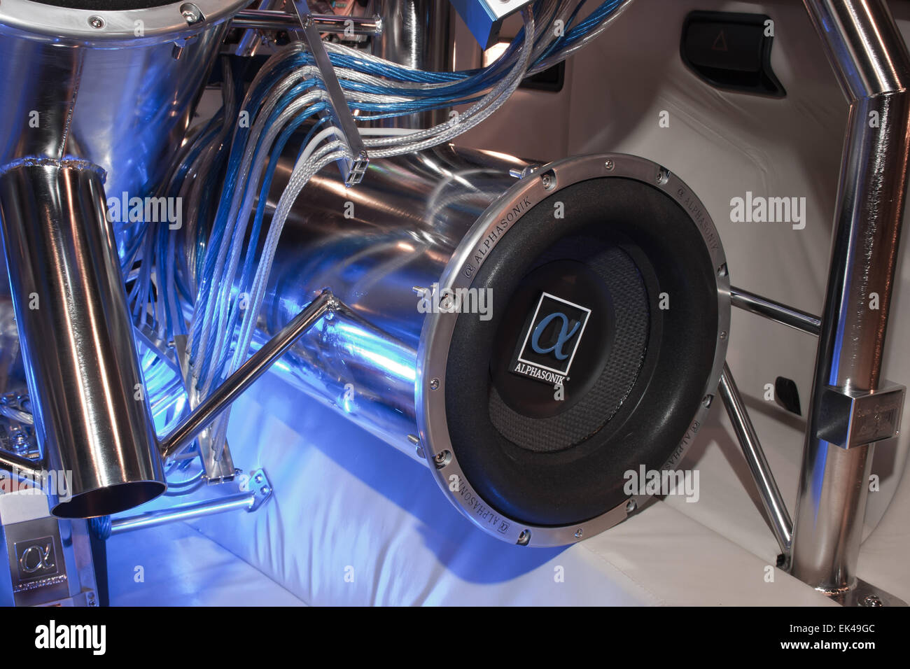 subwoofer or bass speaker in a custom car stereo installation Stock ...