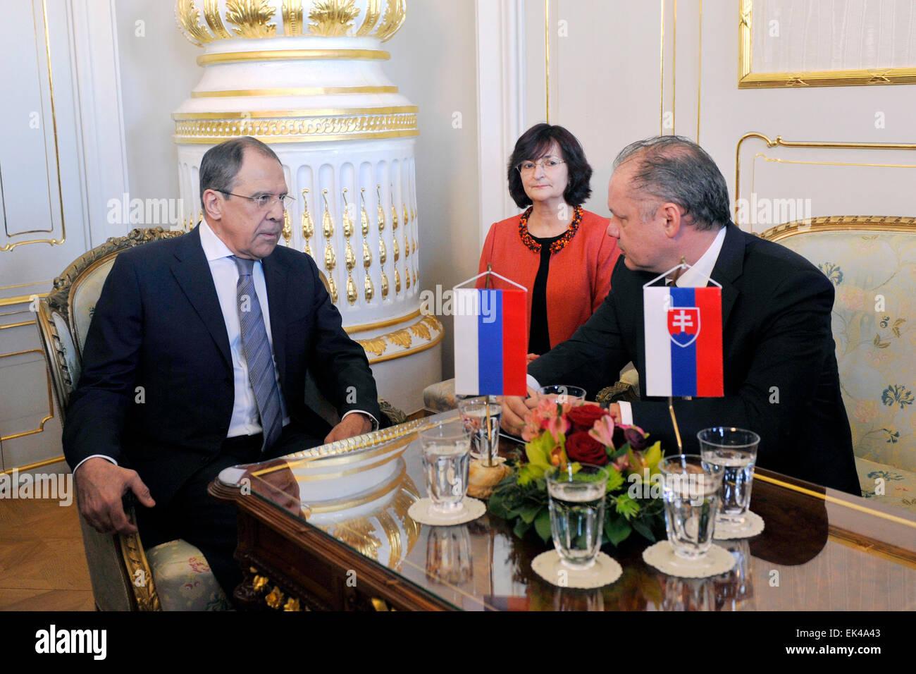 Bratislava. 4th Apr, 2015. Slovak President Andrej Kiska, right, and Russian Foreign Minister Sergey Lavrov meets - Stock Image