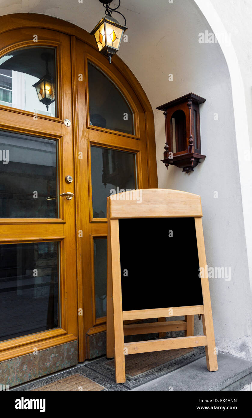 Picture of wooden board for restaurant menu outside restaurant doors. Board is blank ready to put any text & Picture of wooden board for restaurant menu outside restaurant doors ...