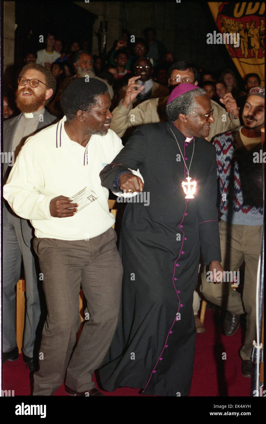 UDF, United Democratic Front's 6th birthday at St George's Cathedral,Cape Town 20 August 1989. The Archbishop - Stock Image