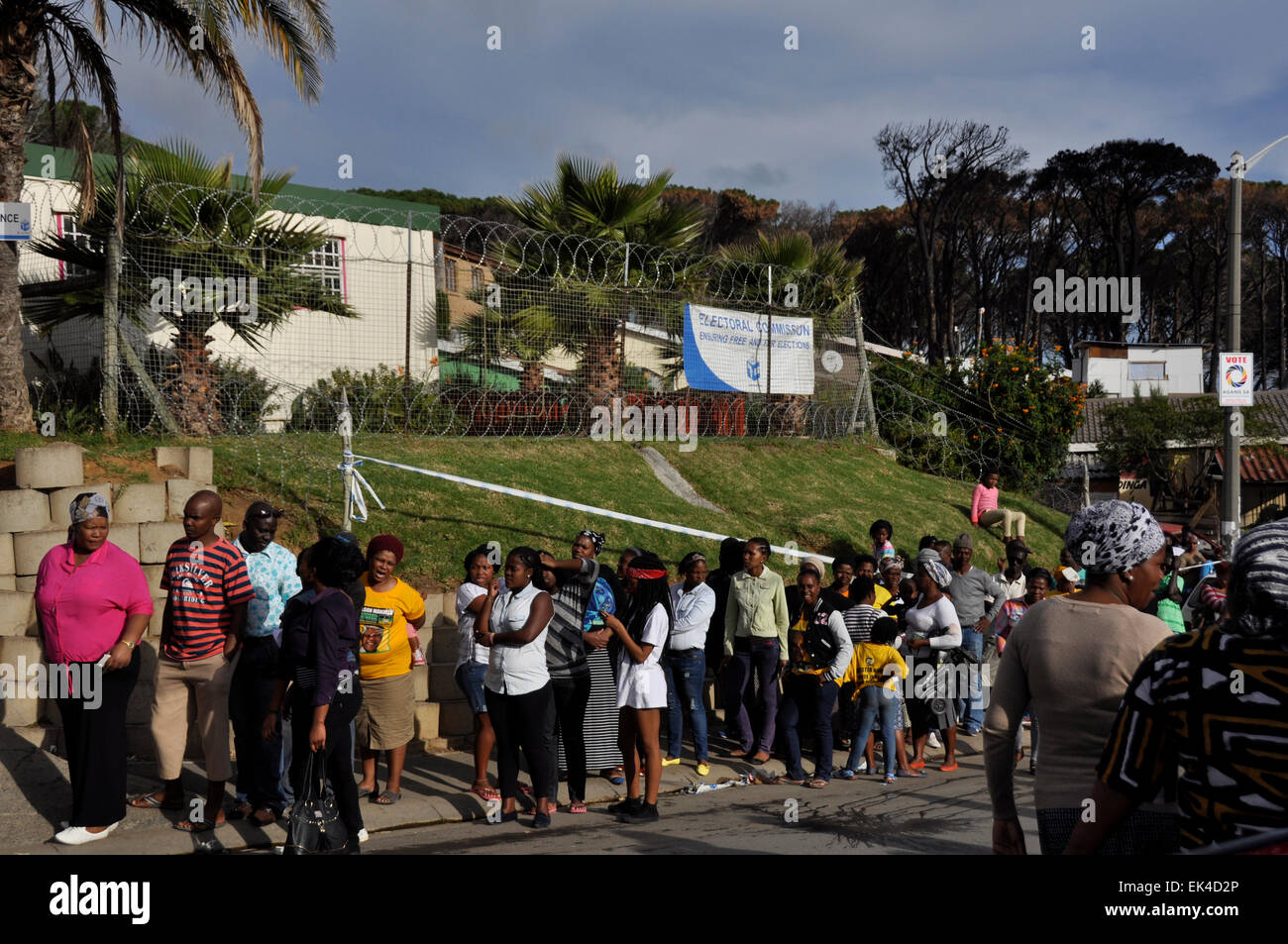 Voters queue to make their mark in the South African Election 2014 at a voting station, Imizamo Yethu , an informal Stock Photo