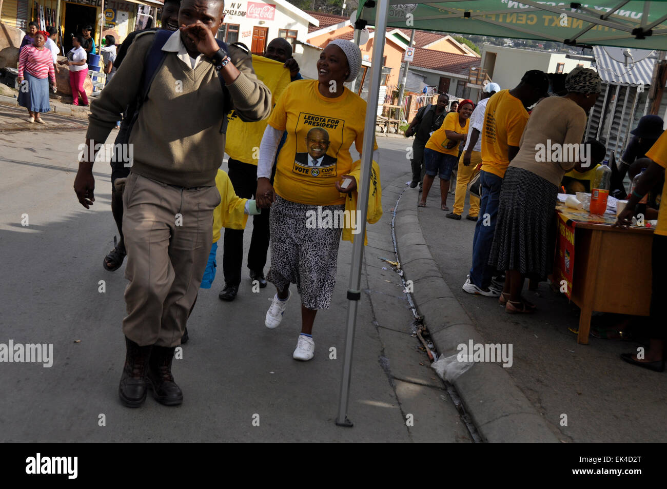 Voters on their way  to make their mark in the South African Election 2014 , Imizamo Yethu , an informal settlement Stock Photo