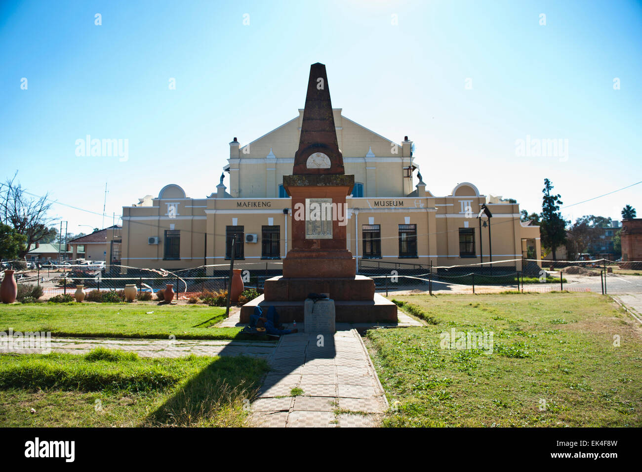 the mafikenk museum that is being renovated. a statue of cecil john rhodes was stolen in broard daylight from the - Stock Image