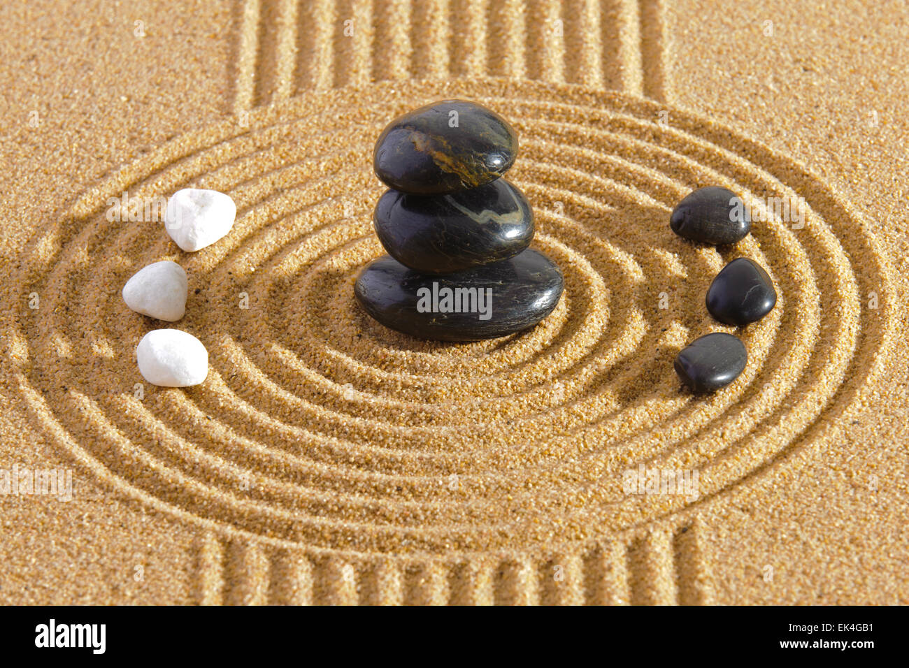 Japanese ZEN garden with Feng shui in sand with stones of yin yang ...