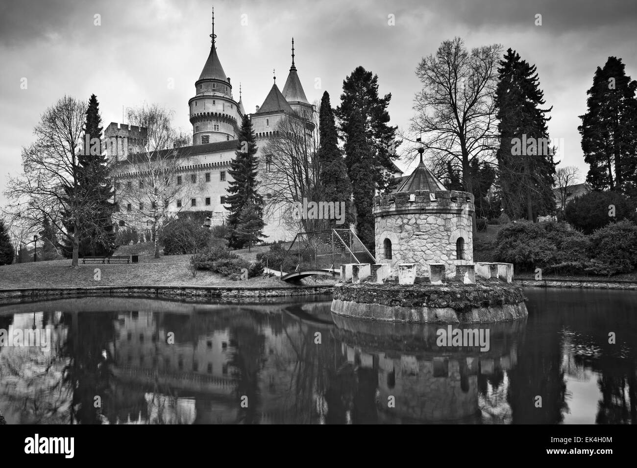 1 / 12  Black and white image of the Bojnice Castle, located in the heart of Slovakia, Europe. - Stock Image