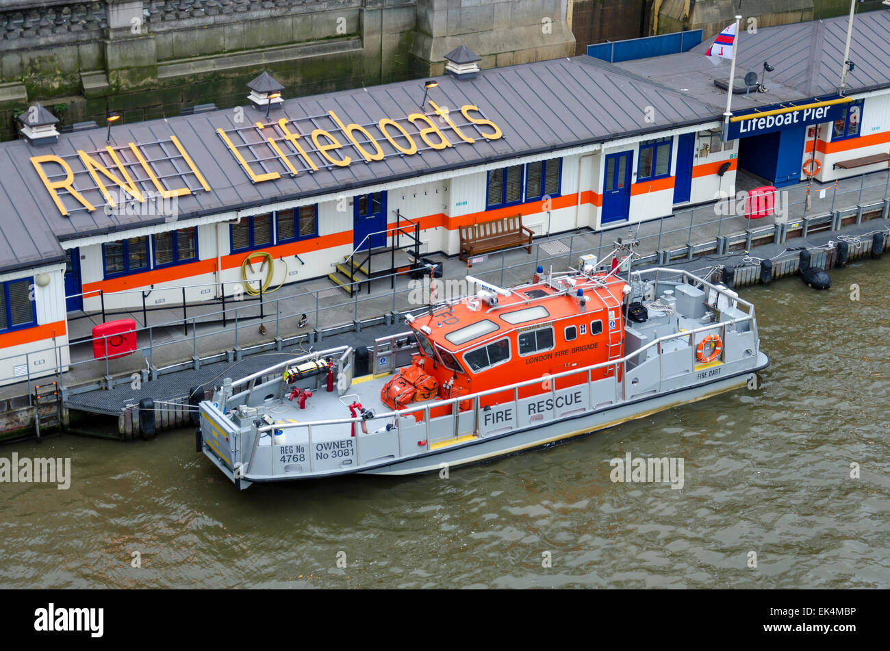 RNLI Lifeboats on the Thames, London, UK - Stock Image