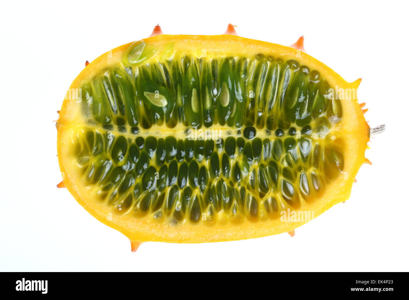 Kiwano, Horned melon fruit, cucumber Horn, Horn melon, Cucumis metuliferus - Stock Image