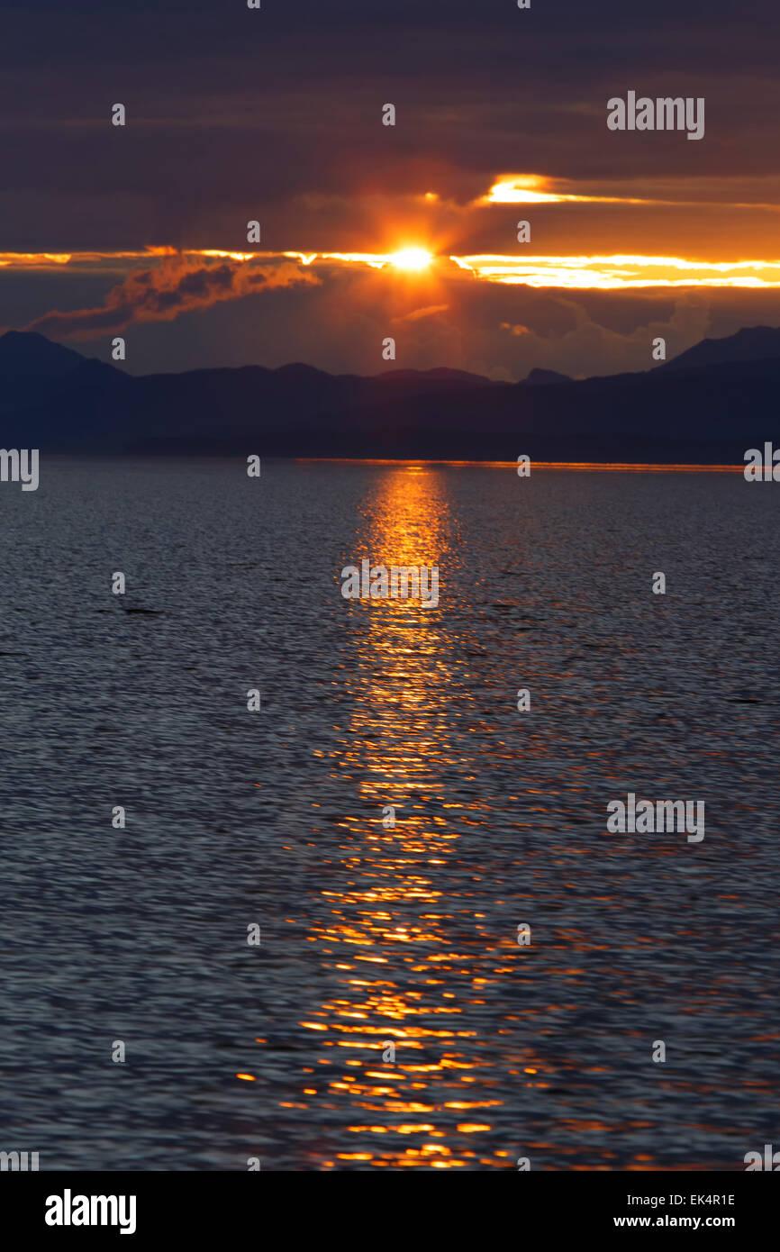Sunset, Cape Fanshaw, Tongass National Forest, Alaska. Stock Photo