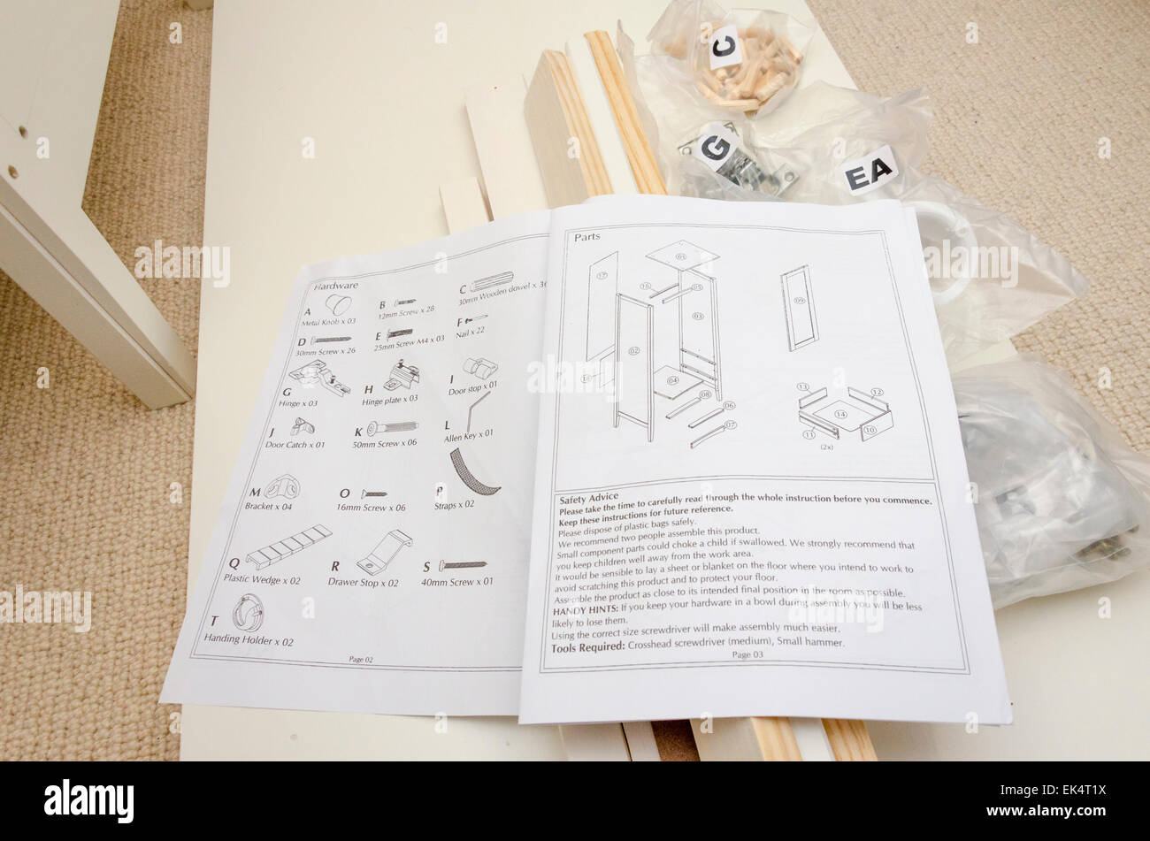 Self assembly flat pack furniture with component fixings and instruction guide - Stock Image