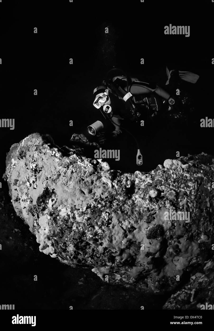 Montenegro, Adriatic Sea, U.W. photo, cave diving, diver and red sponges on a rock - FILM SCAN - Stock Image