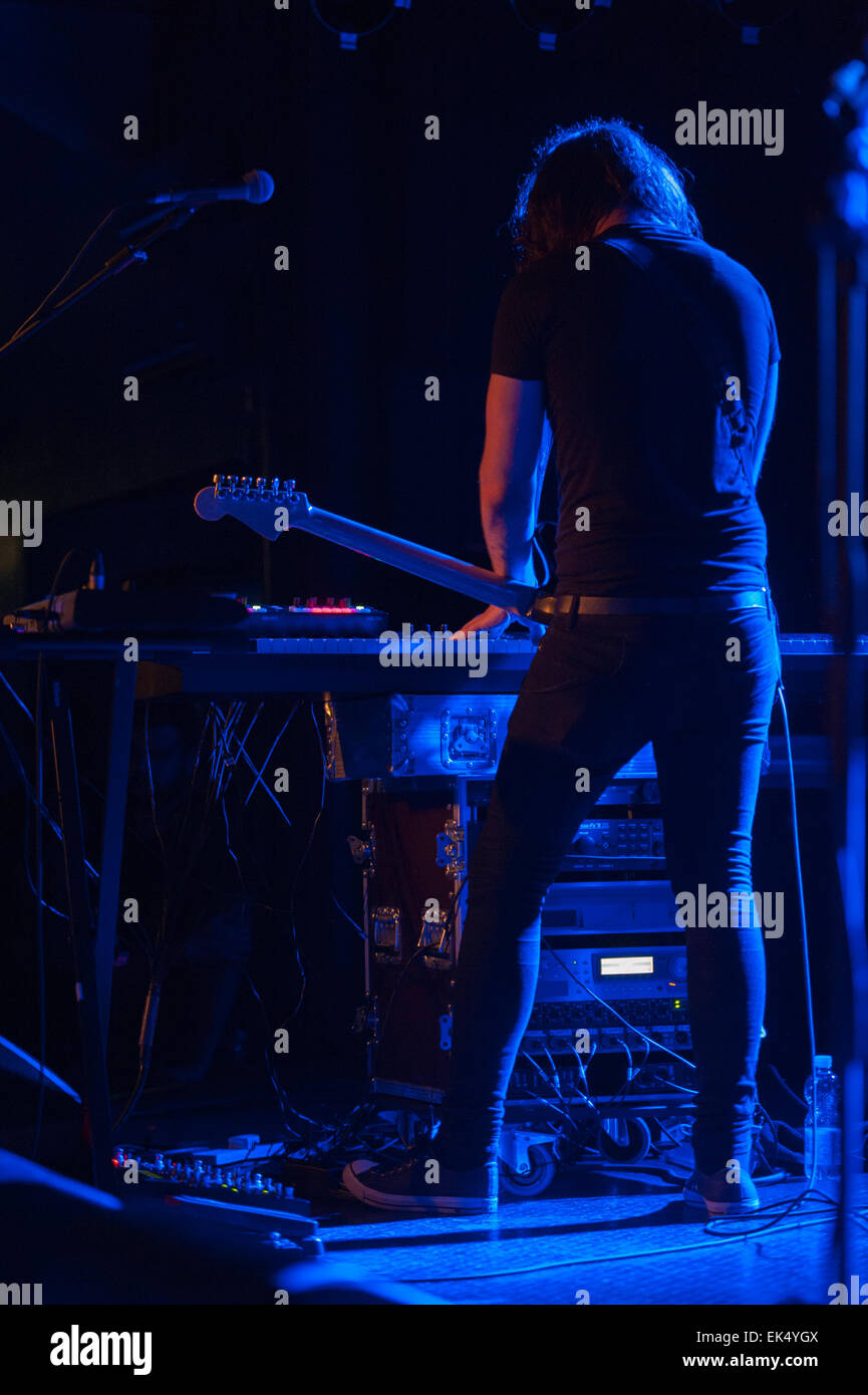 Jamie Dean, keyboards and guitar by God Is an Astronaut, Ciampino (Rome), Italy, Orion Club, 13-09-2014 - Stock Image