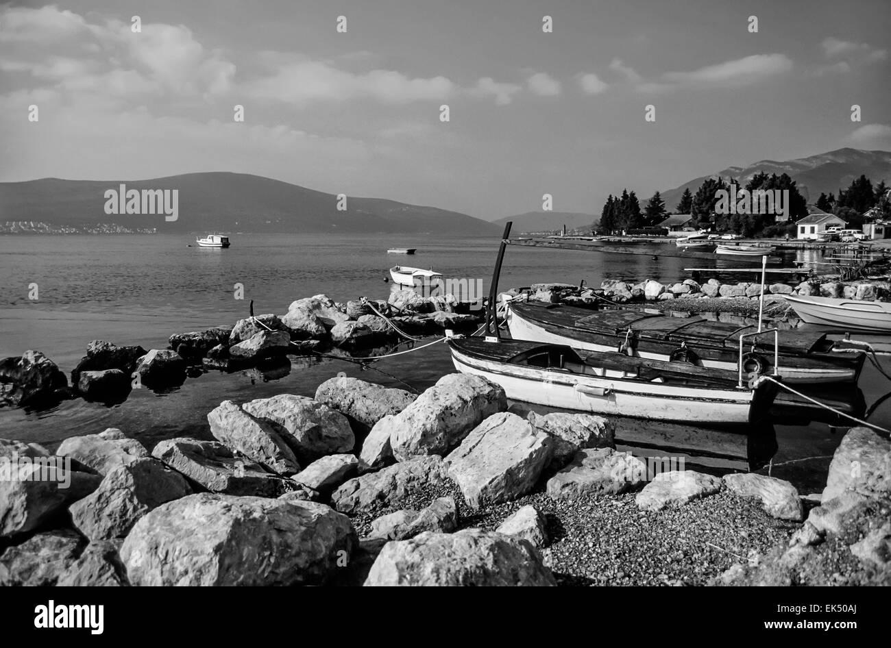 Montenegro, Adriatic Sea, view of the coastline near Sveti Stefan Island - FILM SCAN - Stock Image