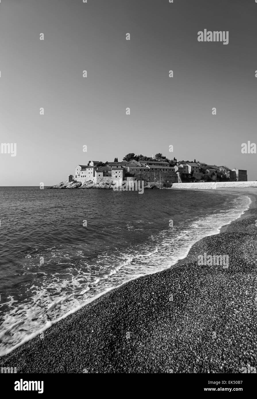 Montenegro, Adriatic Sea, view of the coastline and Sveti Stefan Island - FILM SCAN - Stock Image