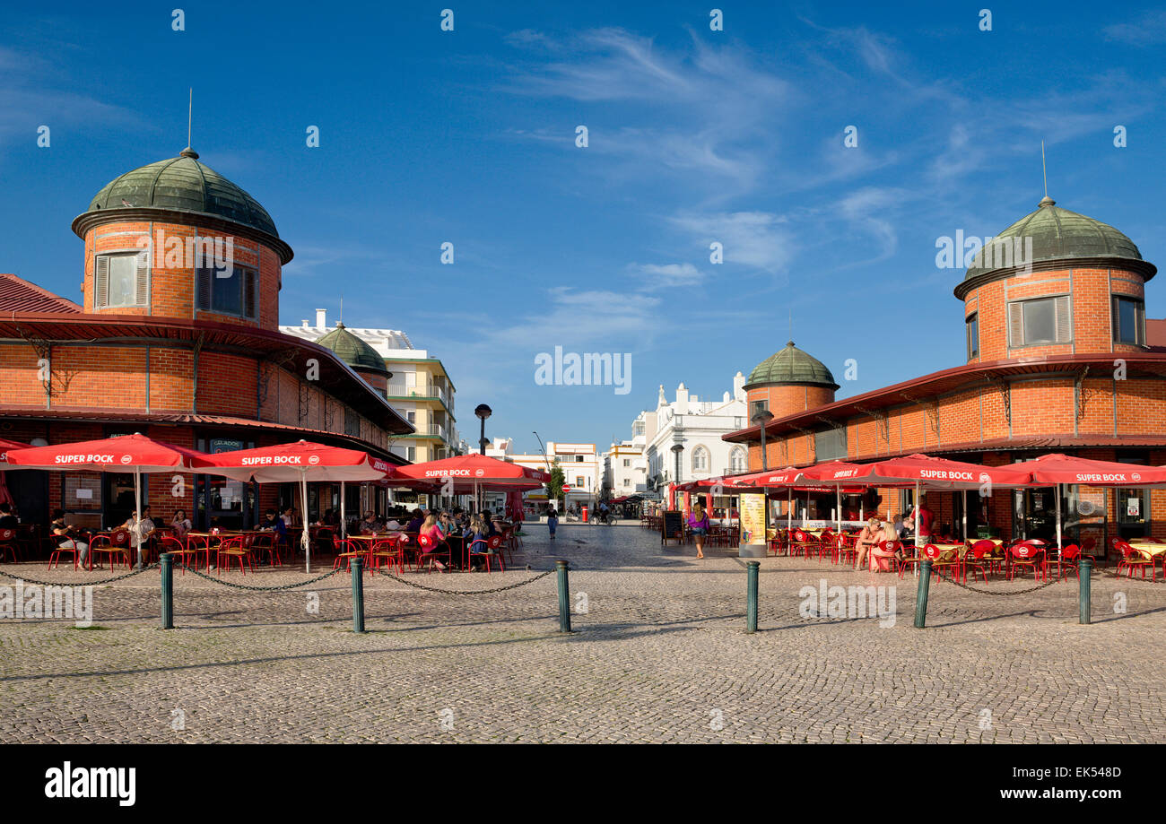 Olhão, the old market buildings and cafés - Stock Image