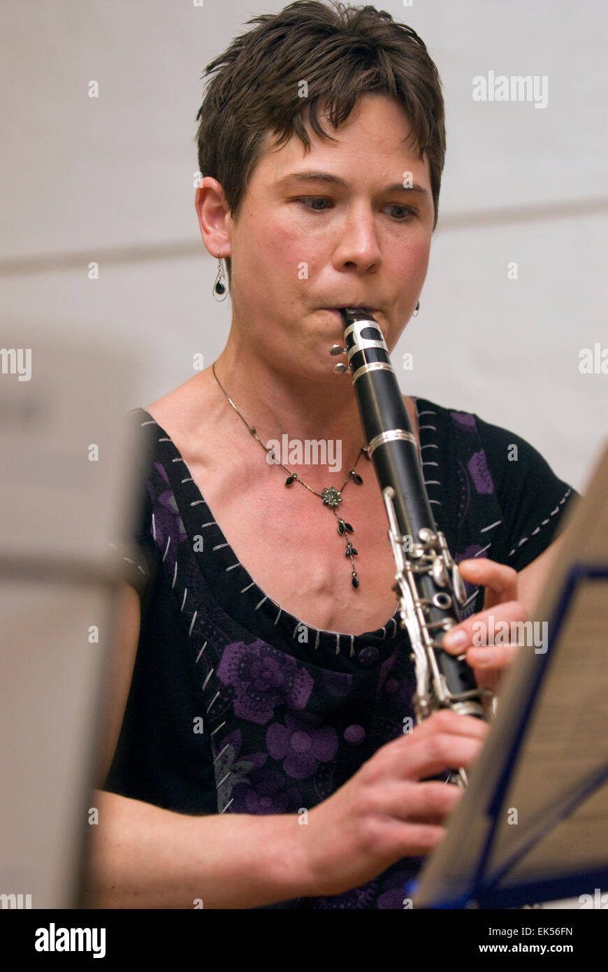 Woman playing the Clarinet in A at a charitable music concert to support aspiring musicians and composers, Farnham, - Stock Image