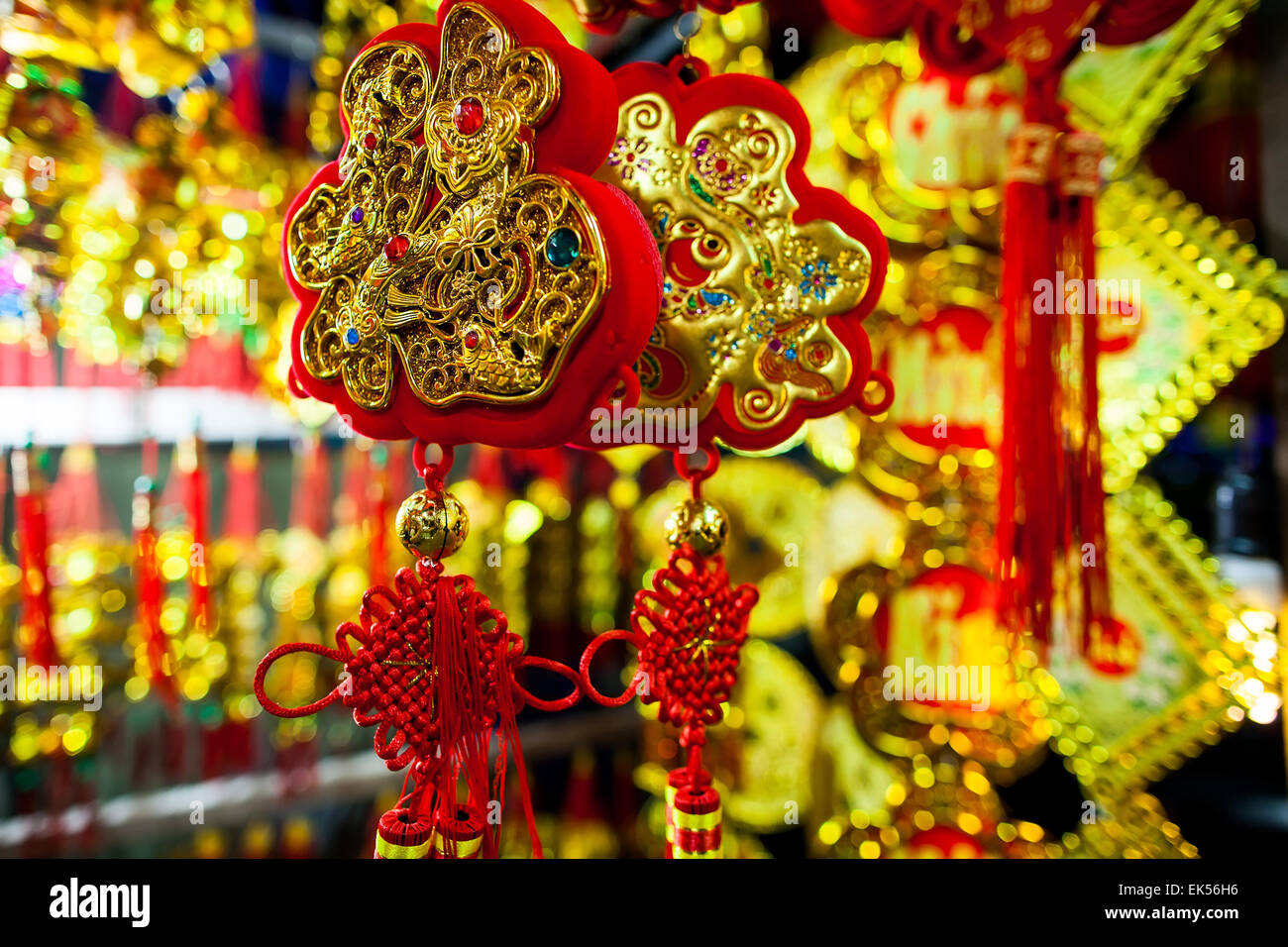 Lucky Knot Chinese New Year Decoration In Vietnam With Gold And Red