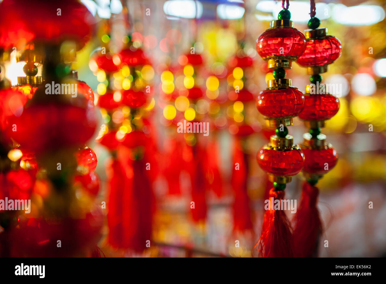 chinese new year decoration in red and gold colours - Stock Image