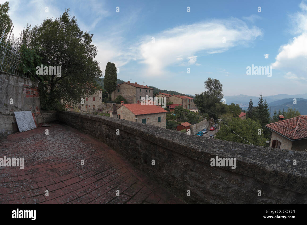 viewpoint of village, Quota di Poppi, Casentino, Tuscany - Stock Image