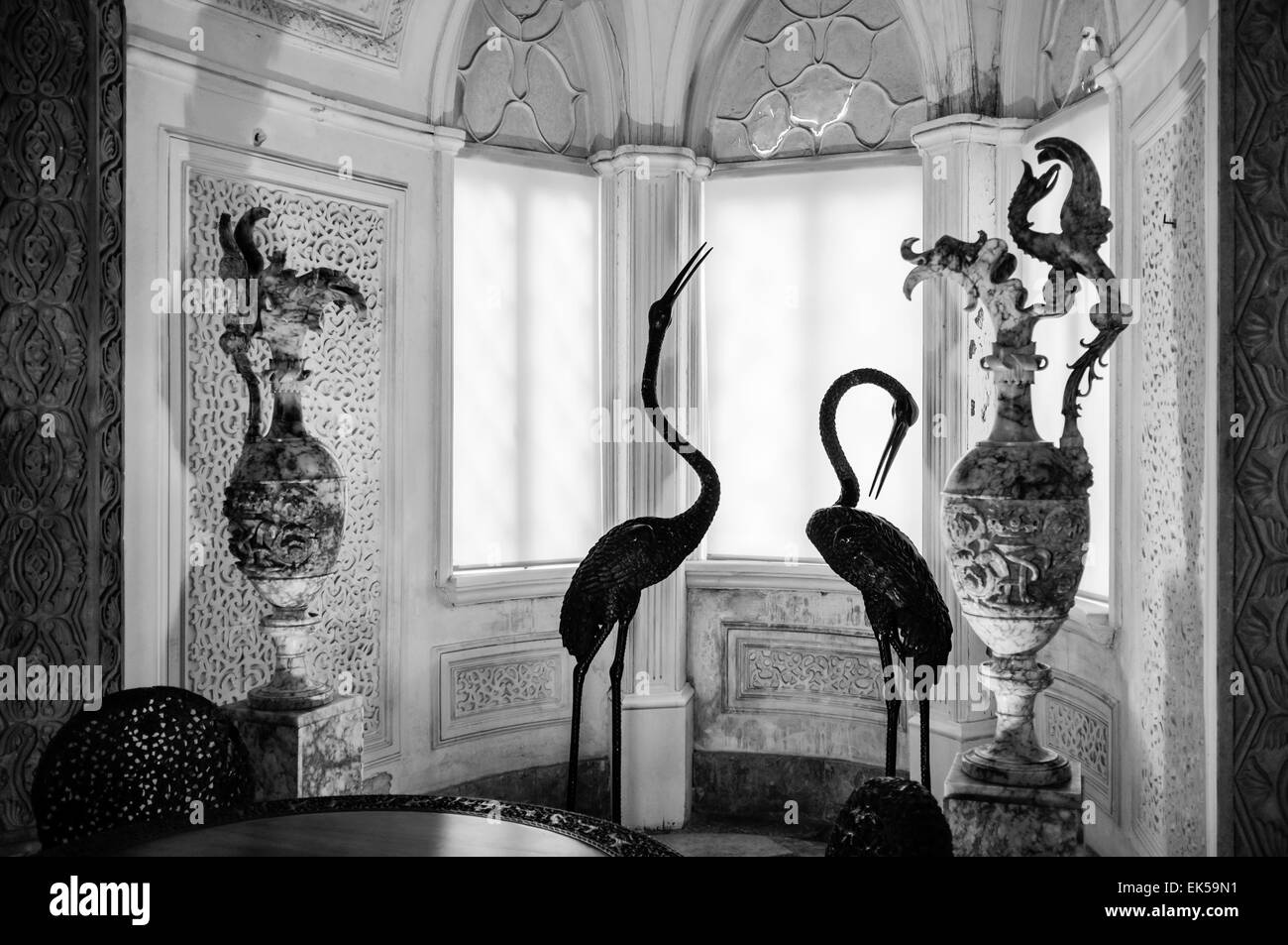 Portugal, Sintra, Pena National Palace (Palàcio Nacional da Pena), 18th century a. C., original sculptures - Stock Image