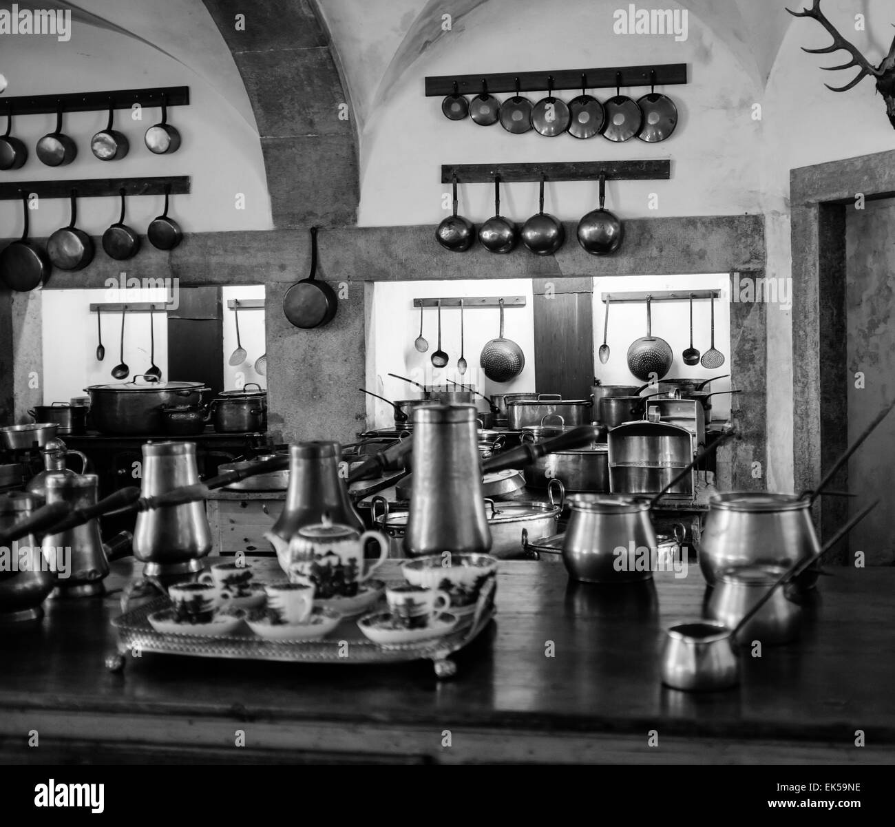 Portugal, Sintra, Pena National Palace (Palàcio Nacional da Pena), 18th century a. C., view of the kitchen - Stock Image