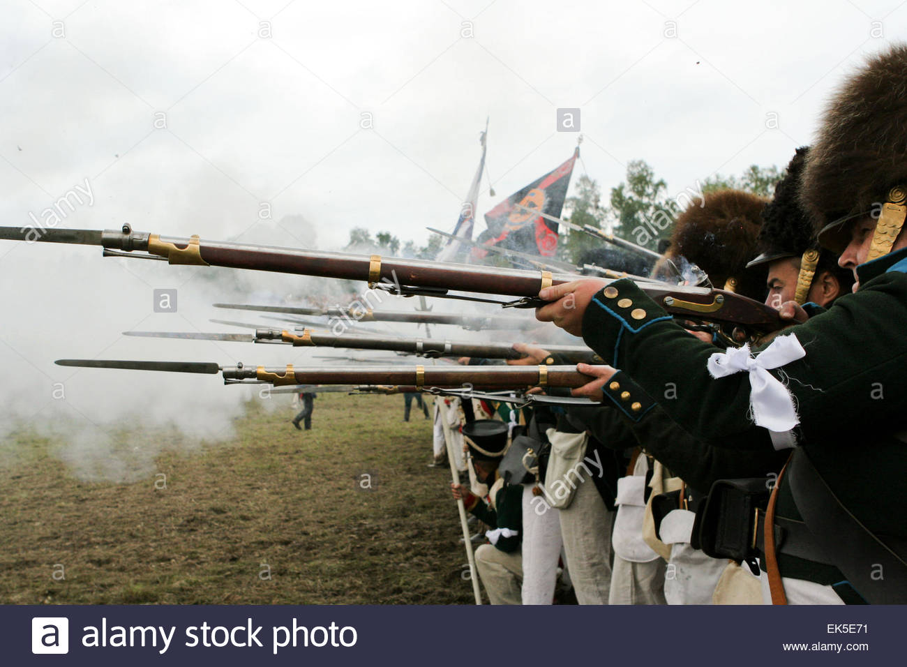 Russian soldiers fighting on enemies, Reconstruction of The Battle of Borodino, Every year the anniversary of the - Stock Image